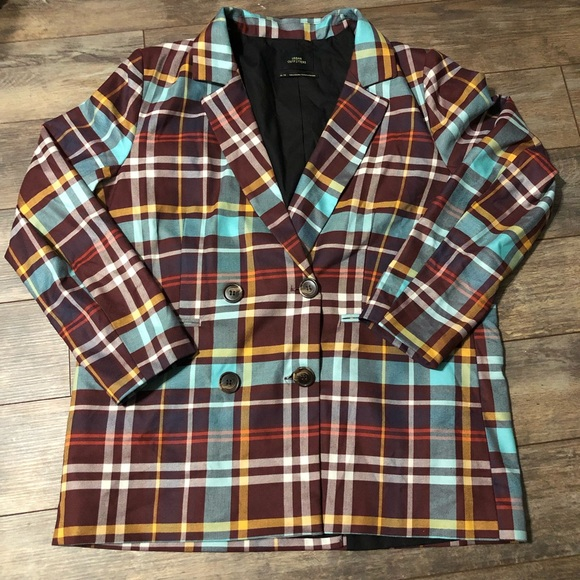 Urban Outfitters Jackets & Blazers - UO Double Breasted Checkered Blazer Maroon